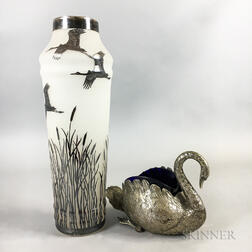 Silver Overlay Vase and Silver-plated Swan