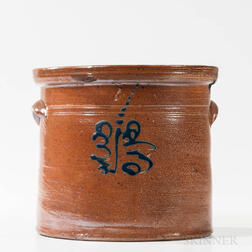 Cobalt-decorated Four-gallon Stoneware Crock