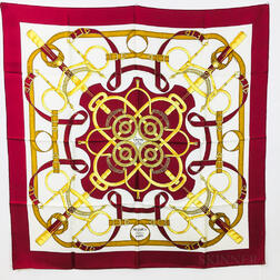 "Three Hermes Silk Scarves ""Les Cles,"" ""Eperon d'Or,"" and ""Grand Apparat,"""