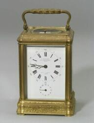 French Bronze Quarter Striking Repeating Carriage Clock