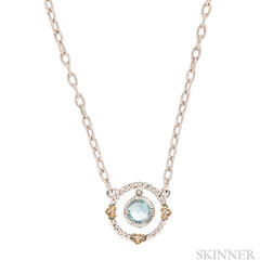 Sterling Silver and Blue Topaz Necklace, Judith Ripka