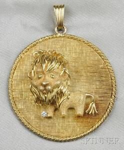18kt Gold and Diamond Lion Pendant