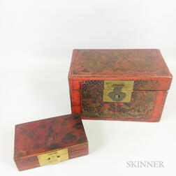 Two Leather-bound Boxes