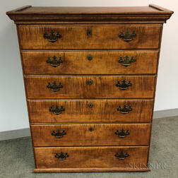 Chippendale Tiger Maple Tall Chest