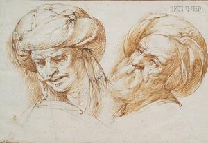 Attributed to Giuseppe Cesare, called Cavaliere d'Arpino (Italian, 1568-1640)      Two Male Heads with Turbans