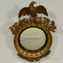 Classical-style Carved and Gilt Girandole Mirror