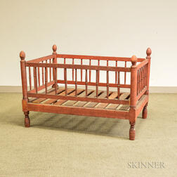 Country Red-stained Turned Maple Crib