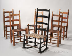 Five Rush-seat Side Chairs and a Black-painted Armed Rocking Chair