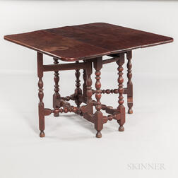 Red-painted Walnut Gate-leg Table