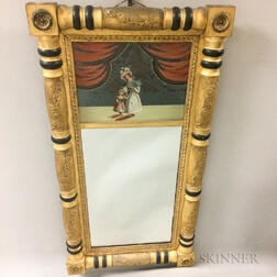 Late Federal Gilt and Reverse-painted Tabernacle Mirror