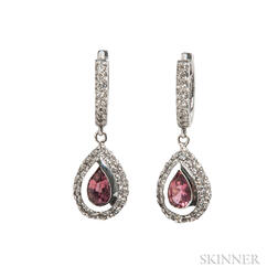White Gold, Pink Tourmaline, and Diamond Earrings