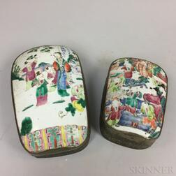 Two Boxes Fashioned from Famille Rose Porcelain Fragments