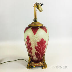 Ormolu-mounted Cameo Glass Vase Lamp