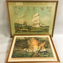 Two Lithographs of Battleships