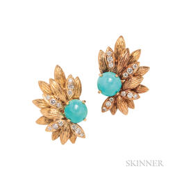 18kt Gold, Turquoise, and Diamond Earclips