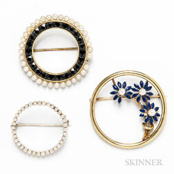 Three Gold Circle Brooches