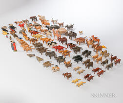 Approximately 160 Carved and Painted Noah's Ark Animal and Human Figures