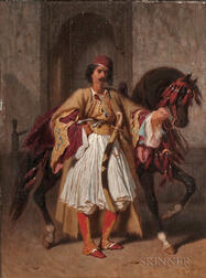French School, 19th Century      Orientalist Portrait/An Ottoman Soldier with His Horse