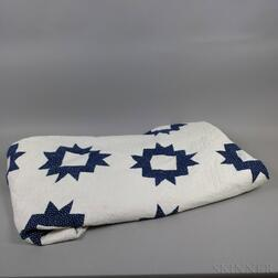 Blue and White Appliqued Cotton Quilt