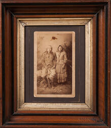 Cabinet Card Photograph of an Apache Man and Woman