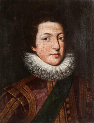 Anglo Dutch School, 17th Century      Portrait of a Youth in a Ruff, Red and Gold Jacket, and Green Sash