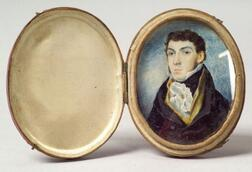 American School, 19th Century    Miniature Portrait of a Gentleman.