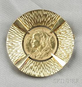 Swiss 20 Franc Gold Coin Pendant/Brooch, mounted by Gubelin