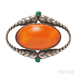 Silver, Amber, and Malachite Brooch,