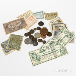 Small Group of U.S. and World Coins and Currency