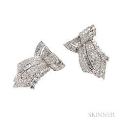 Platinum and Diamond Dress Clips