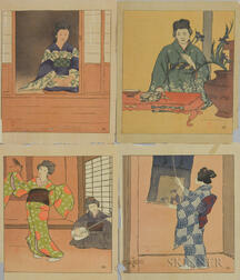 Charles Hovey Pepper (American, 1864-1950) Four Woodcuts: Dyn-ko Looks at the Garden, Fleur-de-Lys (Ikebana), Geisha (The Japanese Danc
