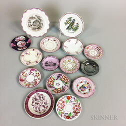 Fifteen Mostly Pink Lustre Ceramic Saucers and Cup Plates.