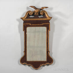 Mahogany Veneer and Gilt-decorated Looking Glass