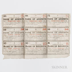 Bank of Augusta Obsolete Bank Note Uncut Sheet