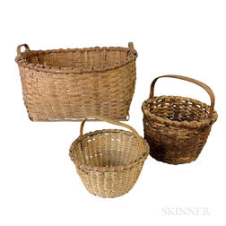 Three Woven Splint Baskets