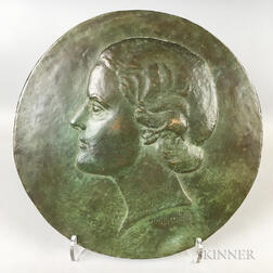 Large Burr Miller Jr. (American, 1904-1958) Bronze Portrait Plaque