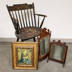 Two Mirrors, a Gilt Frame, and an Armchair.     Estimate $100-150