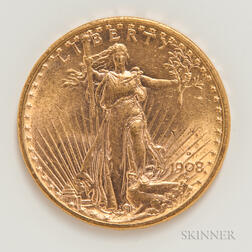 1908-D $20 Motto St. Gaudens Double Eagle Gold Coin.