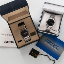 Two Stainless Steel Seiko Wristwatches with Boxes