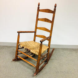 Country Turned Maple Slat-back Armed Rocking Chair