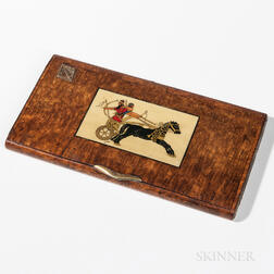 Assyrian Revival Inlaid Burlwood Cigarette Case