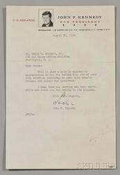 Kennedy, John F. (1917-1963) Two Signed Letters, Two Inaugural Invitations.