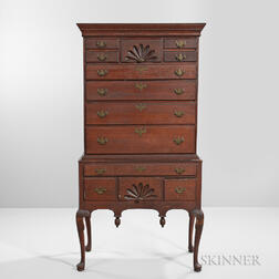 Red-painted Carved Cherry High Chest of Drawers
