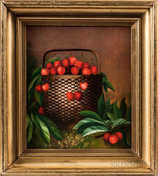 American School, Early 20th Century      Still Life with Basket of Cherries