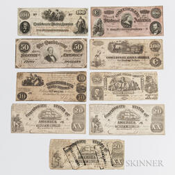 Nine Confederate Notes