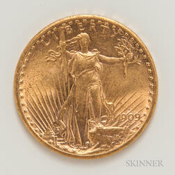 1909-S $20 St. Gaudens Double Eagle Gold Coin.