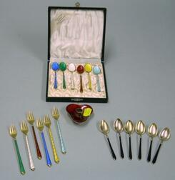 Three Set of Enameled Sterling Silver Demitasse Spoons and Appetizer Forks and a   Taperholder