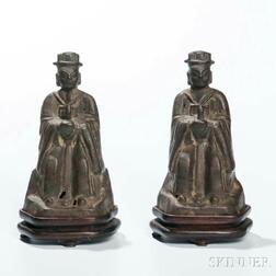 Pair of Bronze Figures of Officials