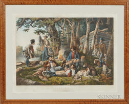 Currier & Ives, Publishers (American, 1857-1907) Lithograph Camping Out