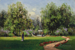William Wendt (American, 1865-1946)      Stroll in the Park